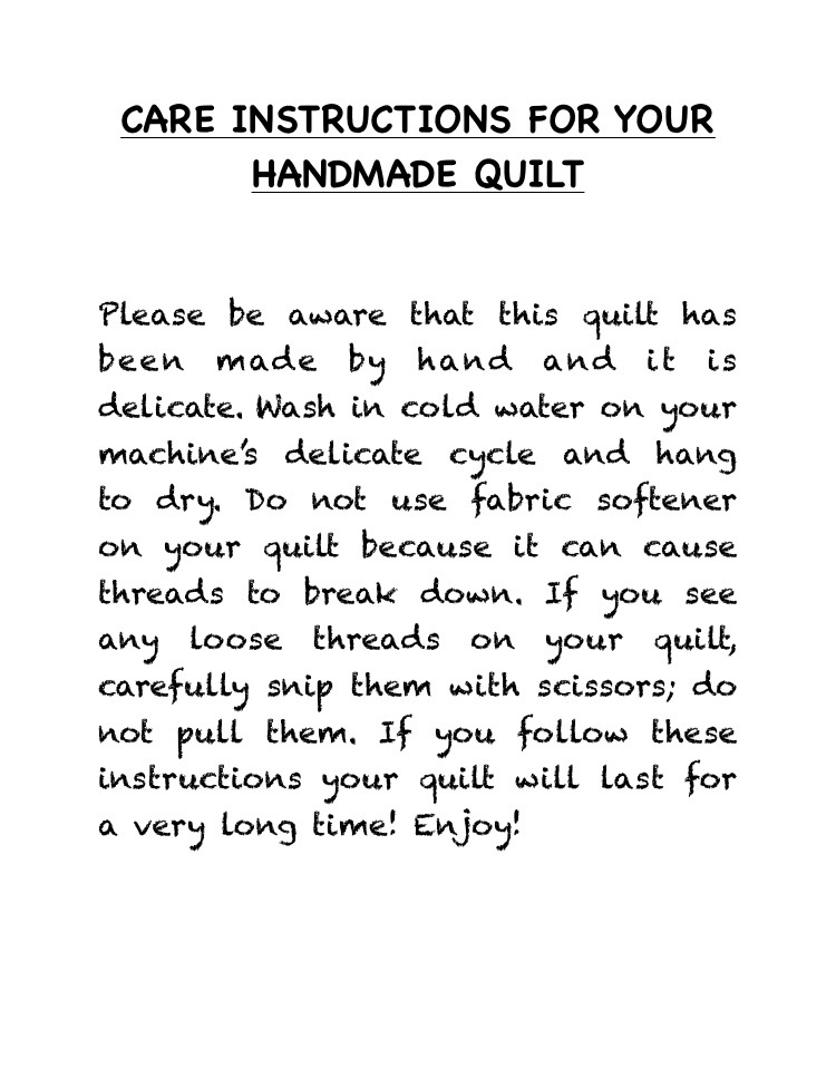 Quilt Care Instructions | Lowcountry Quilts & Embroidery : quilt care - Adamdwight.com